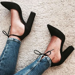 Shoespie Chic Black Ankle Lace Knot Chunky Heels