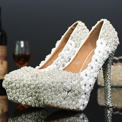 Shoespie White Lace Flowers Platform Bridal Shoes