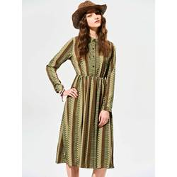 Stand Collar Stripe Day Dress