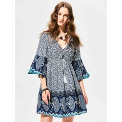 Deep V-Neck Flower Print Flare Sleeves Backless Day Dress