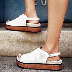 Shoespie White Thick Outsole Flat Sandals