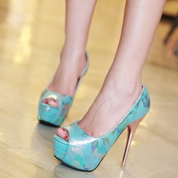 Shoespie Fashion Abtrast Print Stiletto Platform Heels