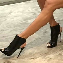 Shoespie Black Open Toe Sandal Booties
