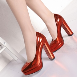 Shoespie Street Look Metallic Color Platform Heels