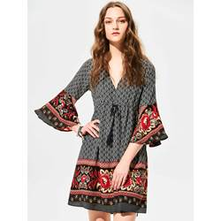 Flower Print Flare Sleeves Day Dress