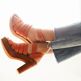 Shoespie Orange Wooden Platform Chunky Heel Sandals