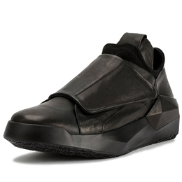 Shoespie Black Leather Thick Outsole Men's Sneakers