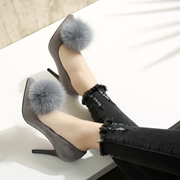 Shoespie Cute Pompom Accented Stiletto Heels