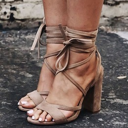 Shoespie Brown Suede Lace Up Sandals