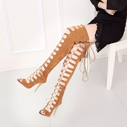 Shoespie Over the Knee Lace Up Sandals