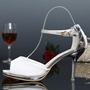 Shoespie Concise White Satin Ankle Wrap Bridal Shoes