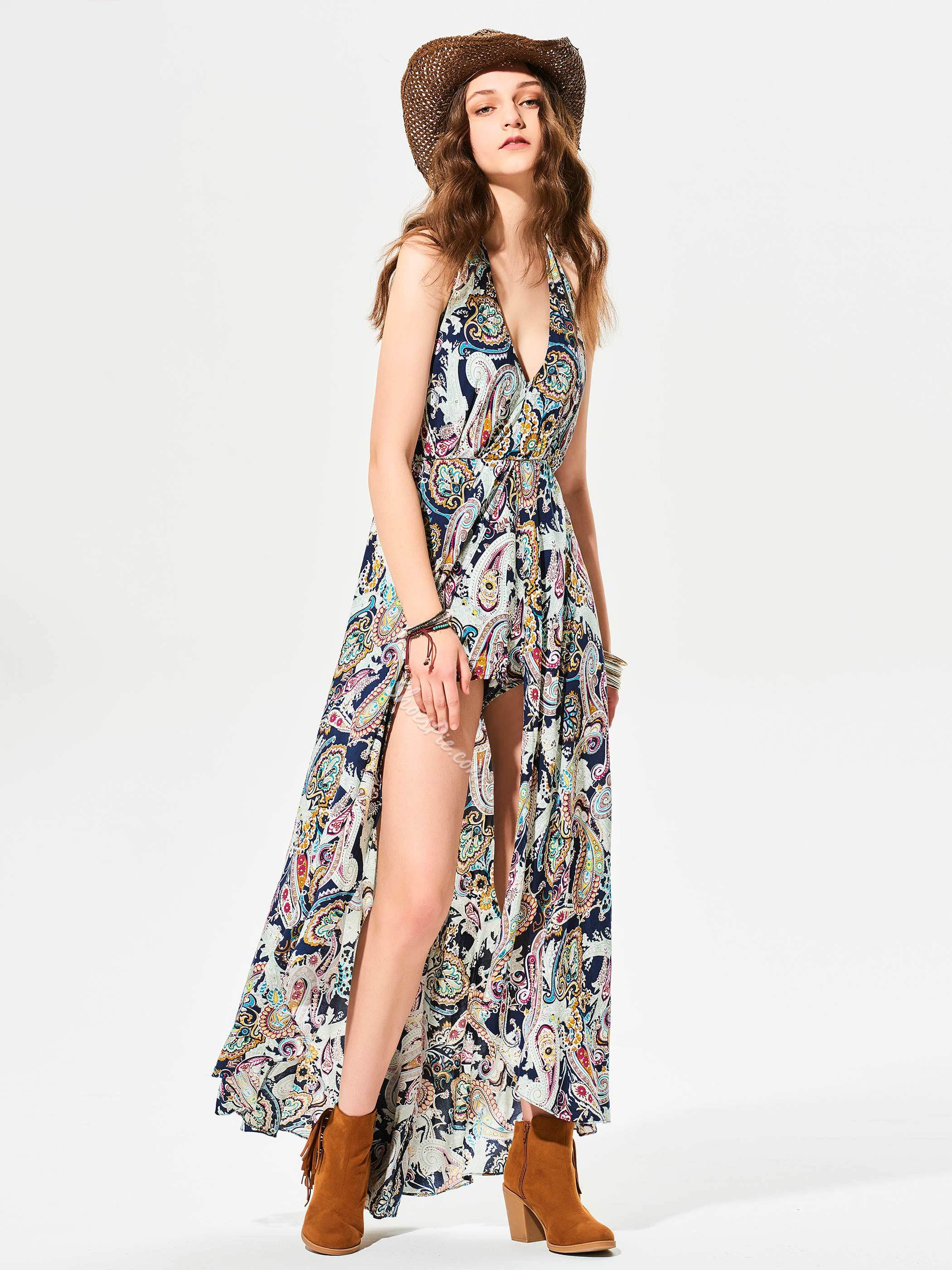 V-Neck Flower Print Wide Legs Jumpsuit