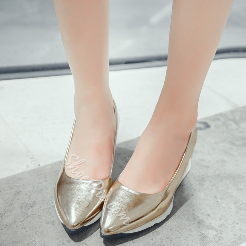 Shoespie Athleisure Metallic Color Mid Wedge Sneakers