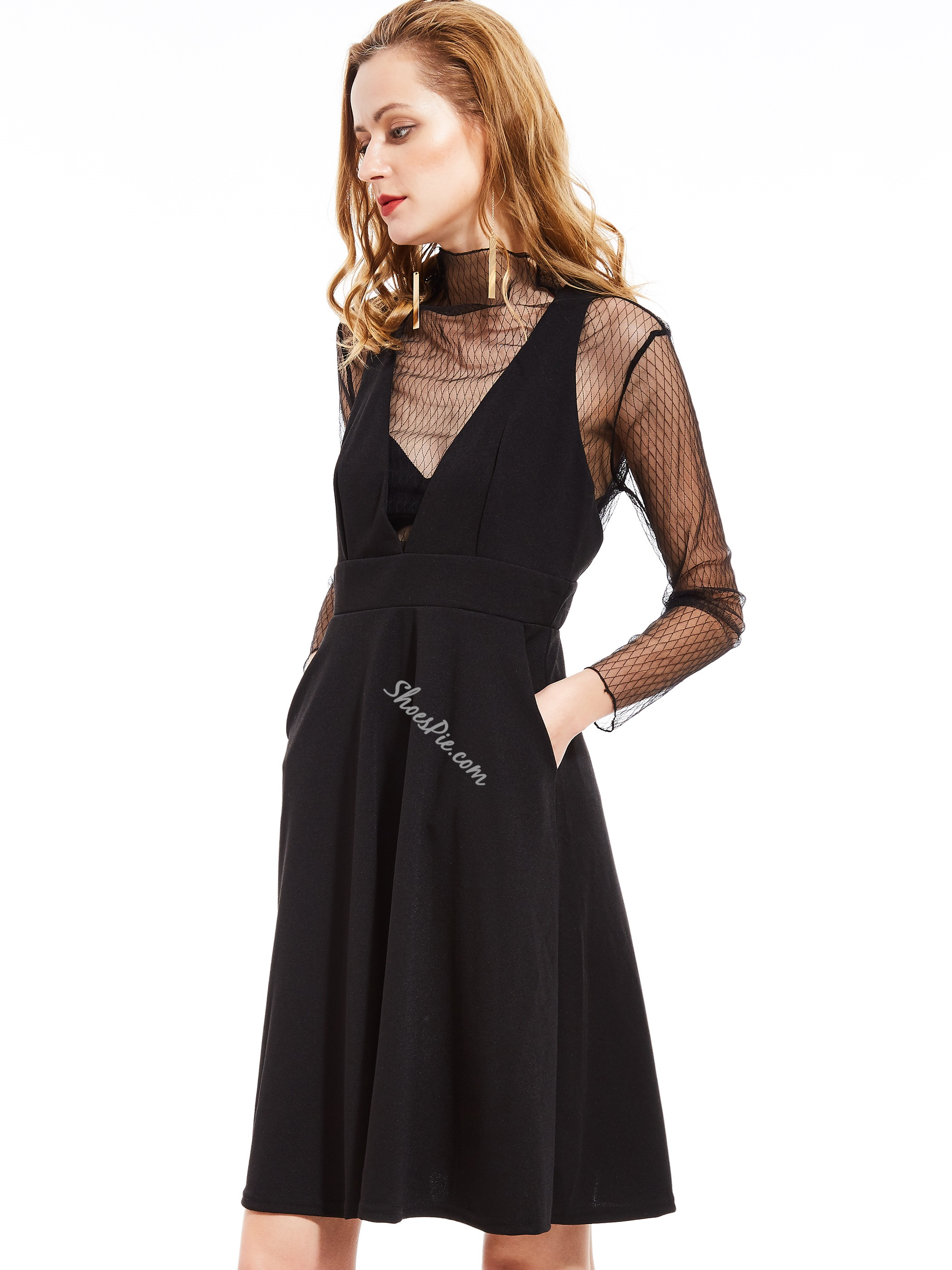Deep V-Neck Plain Skater Dress