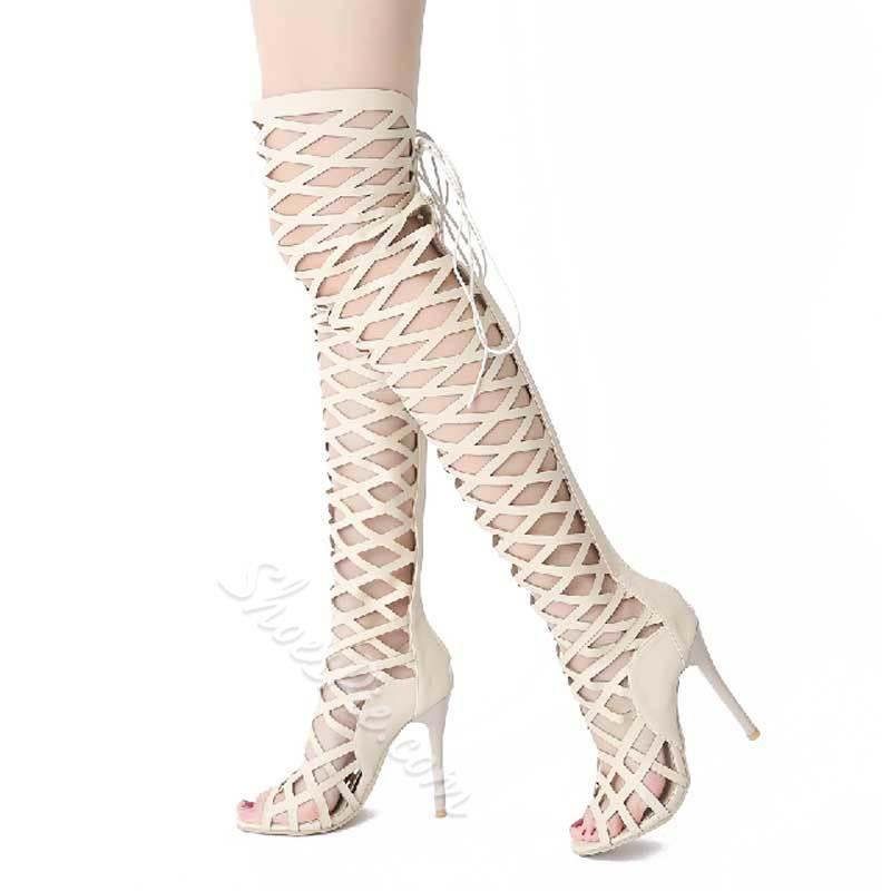 cf4367ffc2e Shoespie Thigh High Cage Gladiator Sandals- Shoespie.com