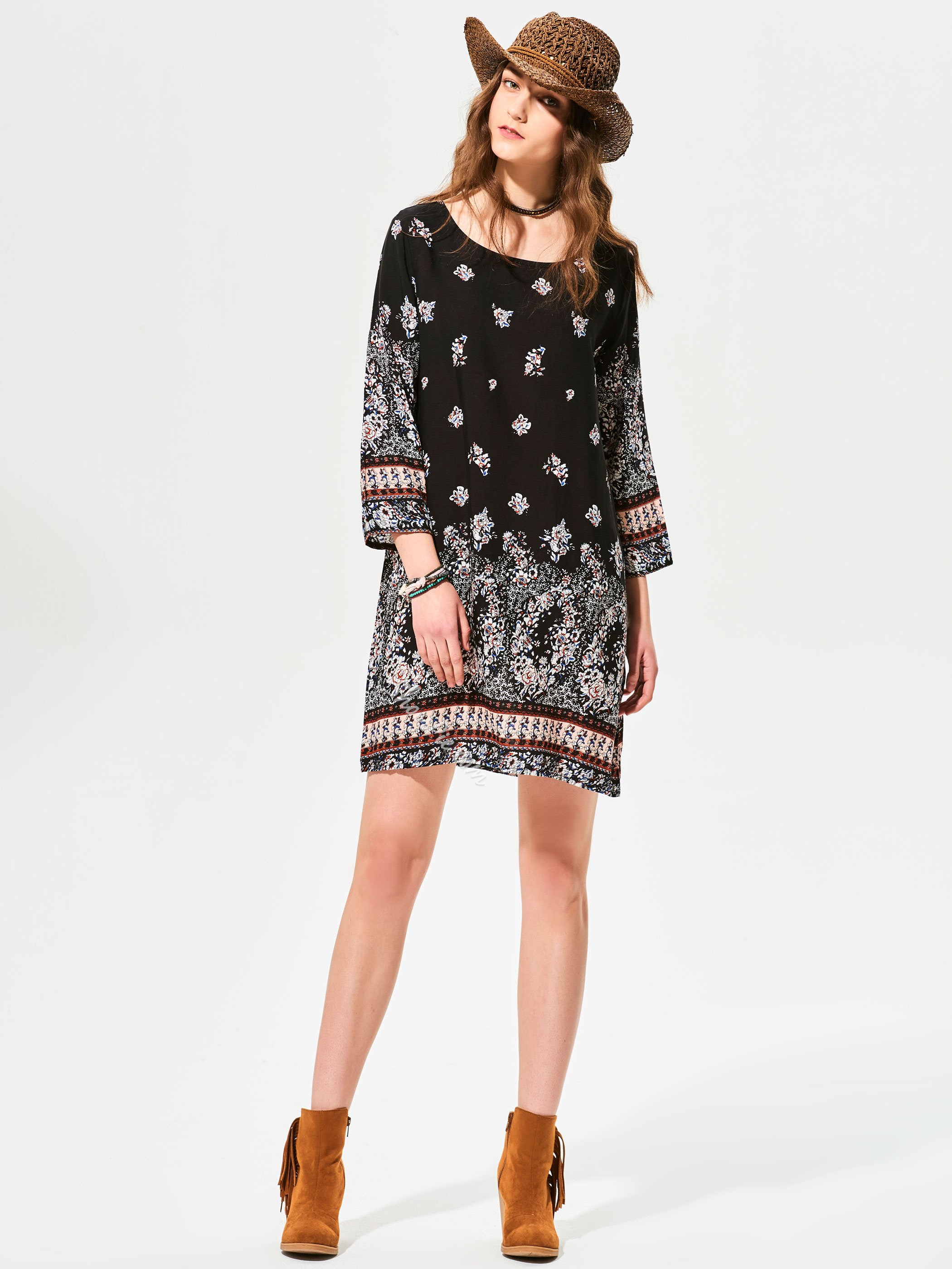 Round Neck Geometric Pattern Day Dress