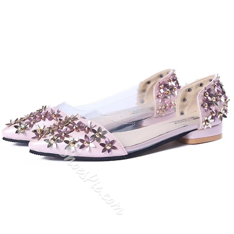 Shoespie Cute Metal Flower Appliqued Illusion Loafers