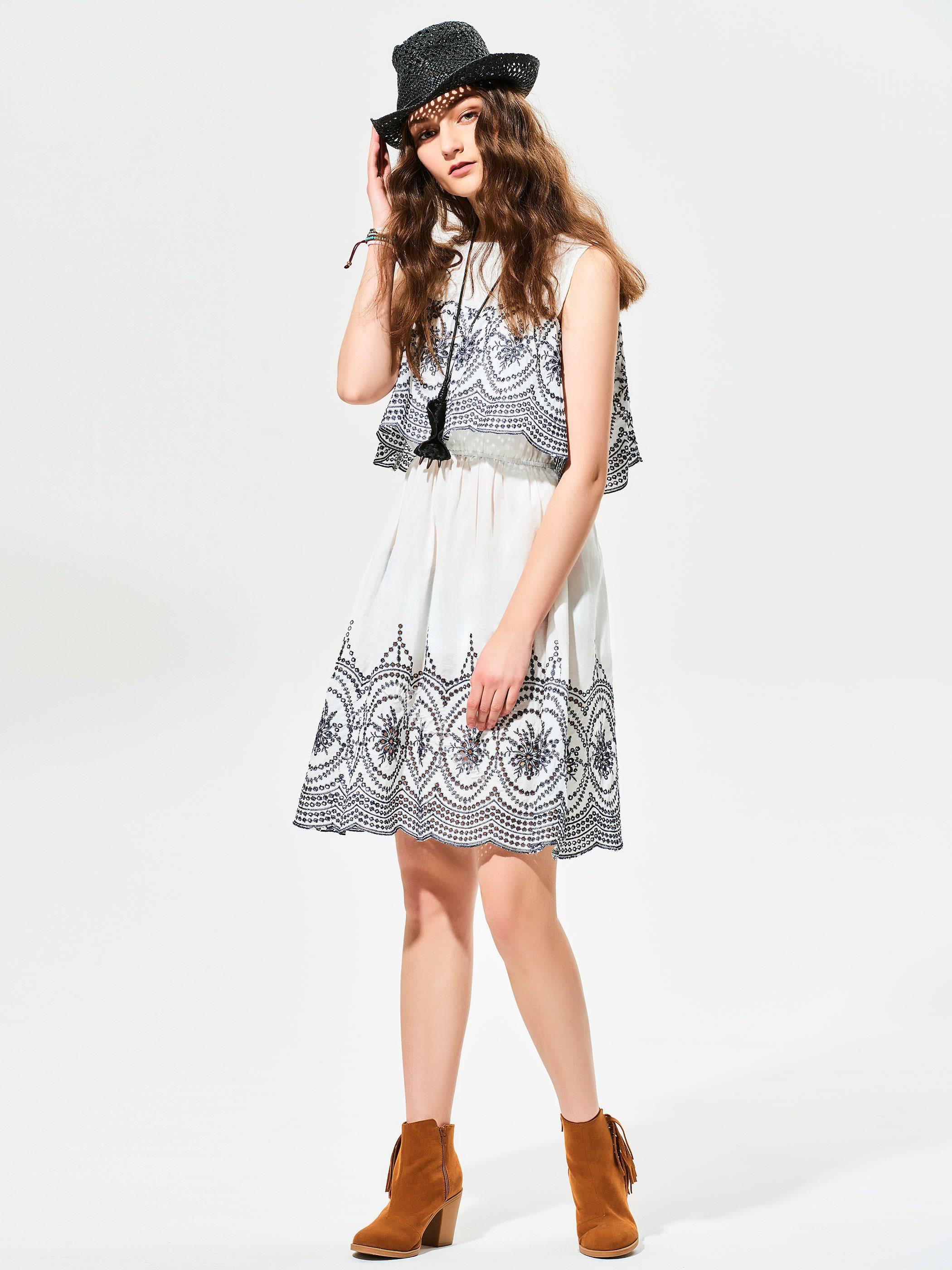 Cold Shoulder Geometric Pattern A-Line Dress
