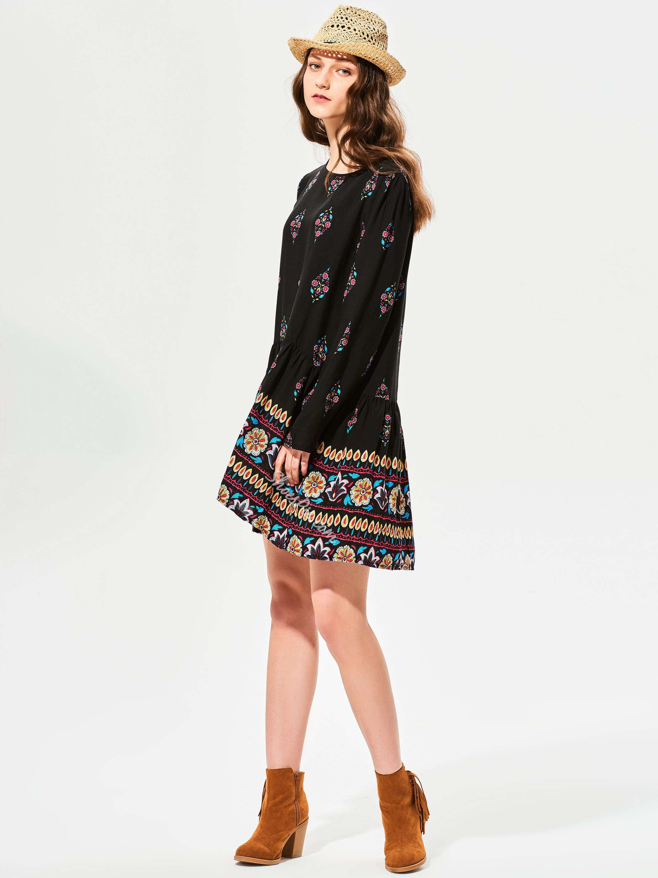 Round Neck Geometric Pattern Print Day Dress