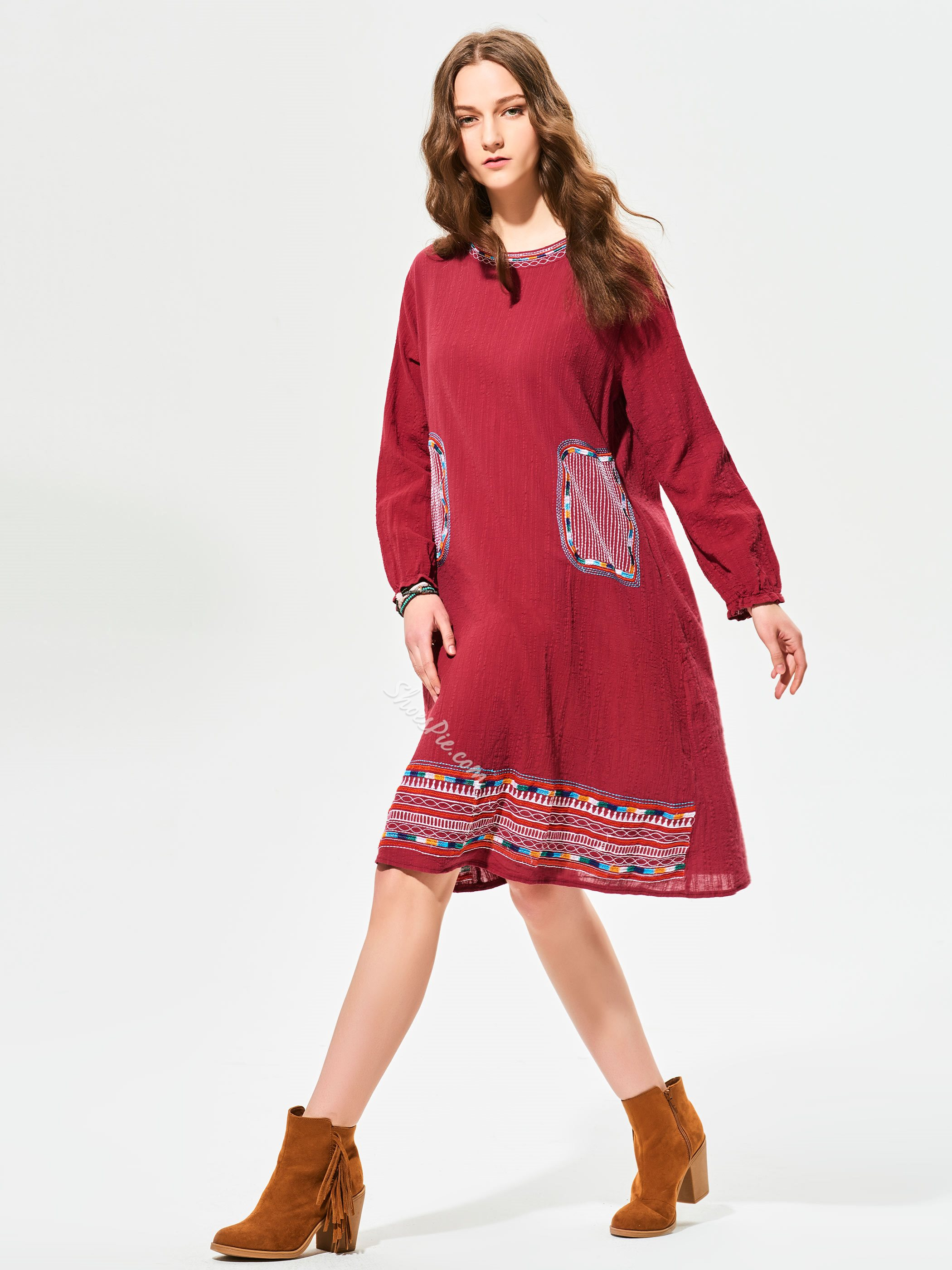 Shoespie Cotton Geometric Pattern Embroidery Day Dress