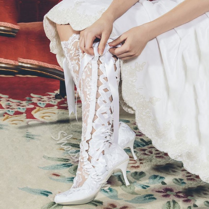 Shoespie Pure Ivory Side Ribbon Strap Knee High Bridal Shoes