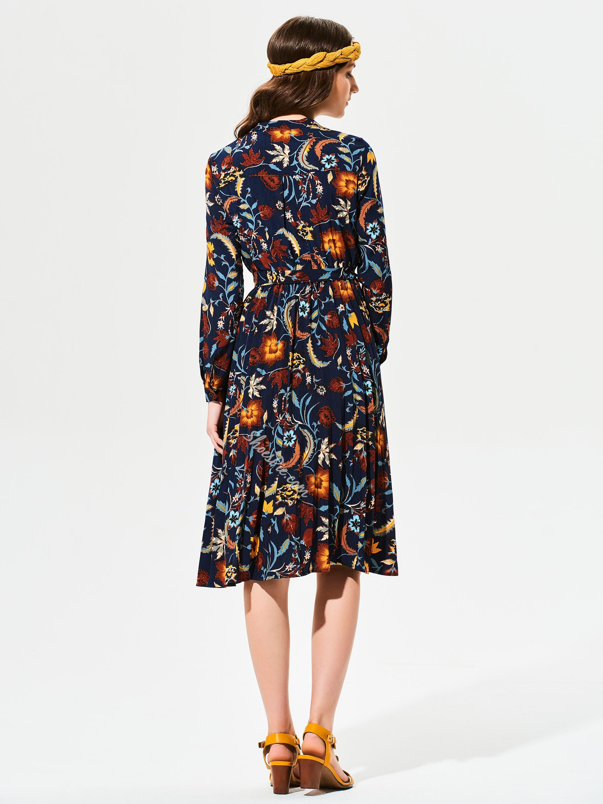 Stand Collar Color Block Flower Print Day Dress