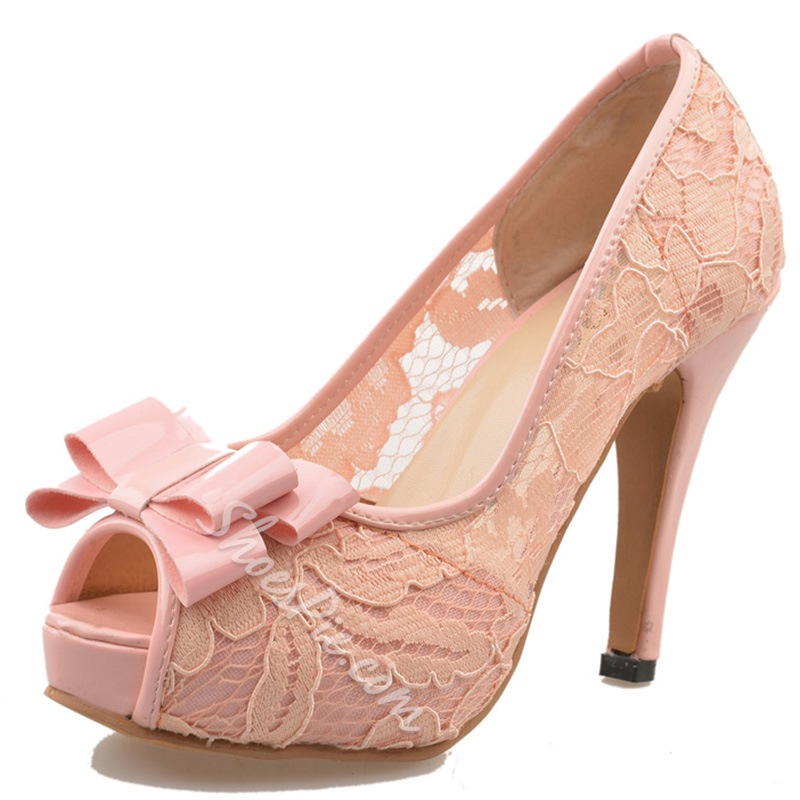 Shoespie Lace Inset Cute Bow Peep Toe Platform Heels