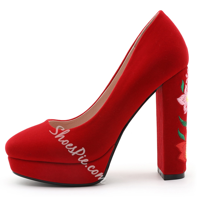Shoespie Stylish Embroidered Chunky Heel Pumps