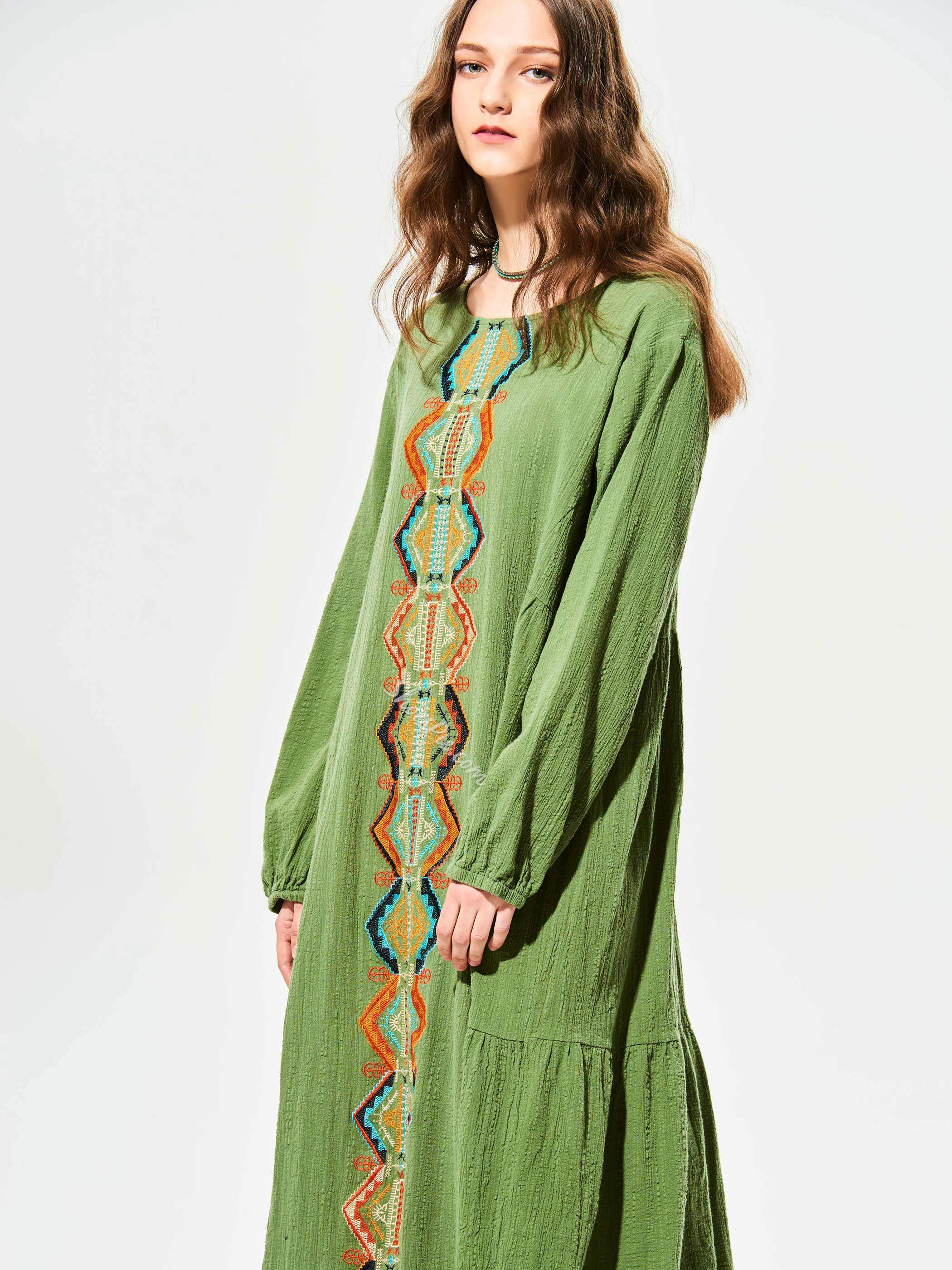 Shoespie Geometric Pattern Embroidery Day Dress