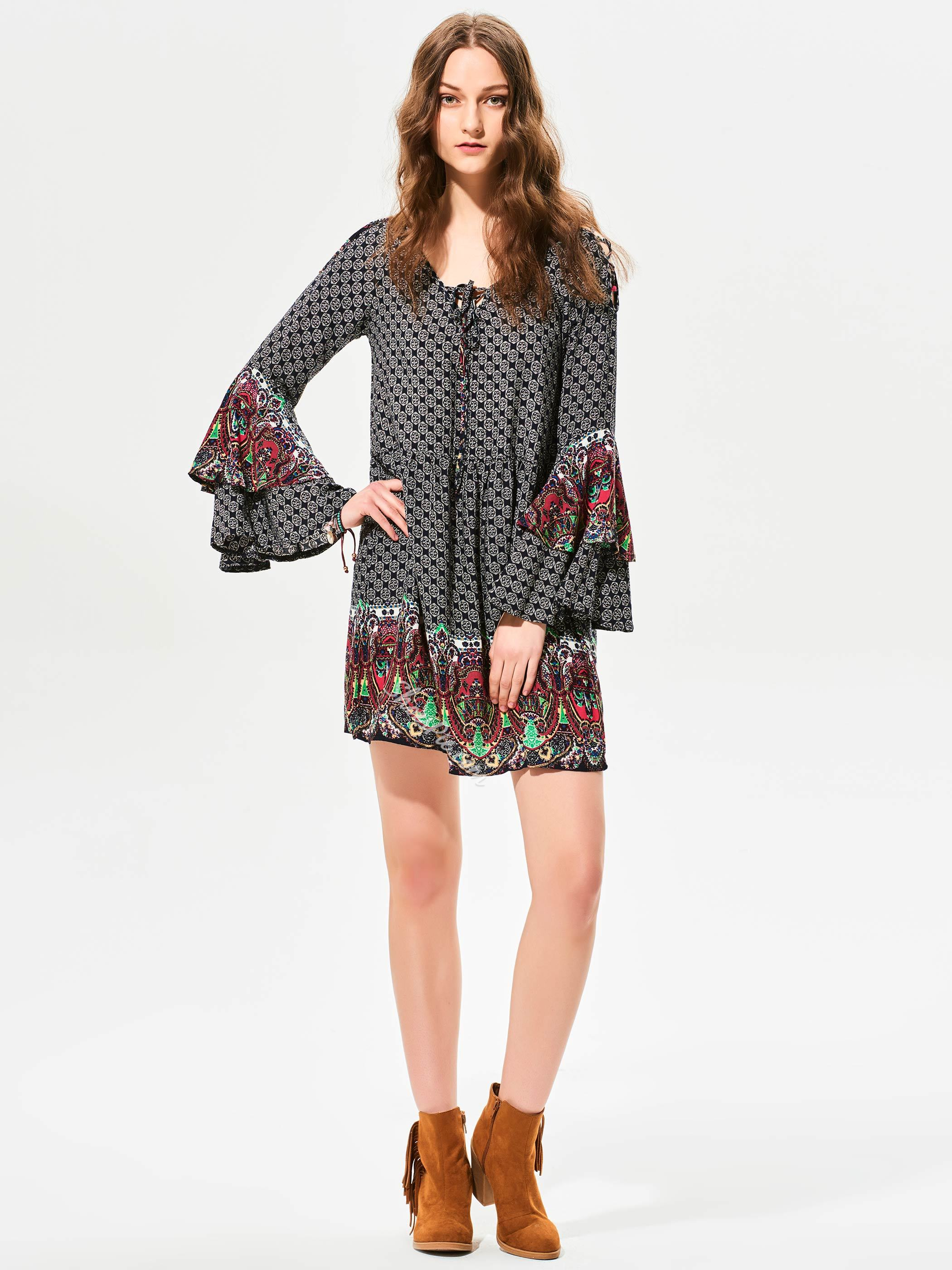 Geometric Pattern Flare Sleeves A-Line Dress