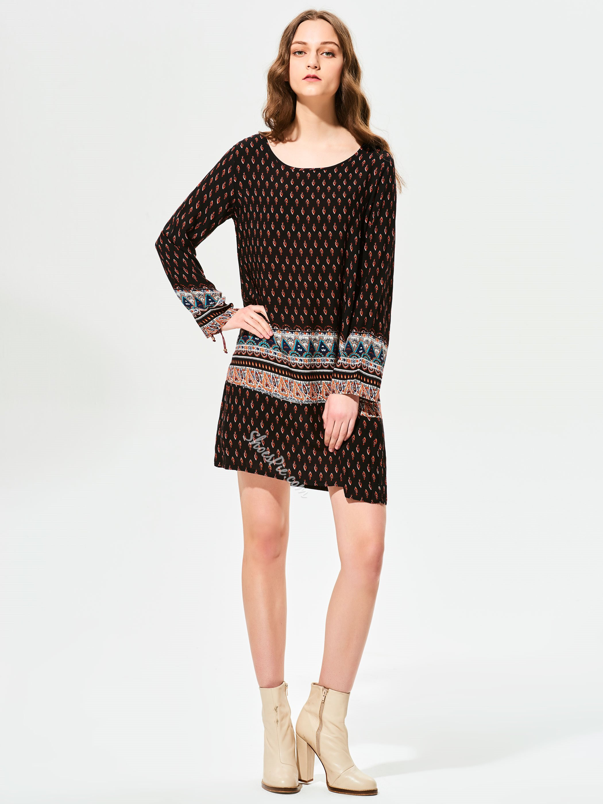 Geometric Pattern Polka Dots Day Dress
