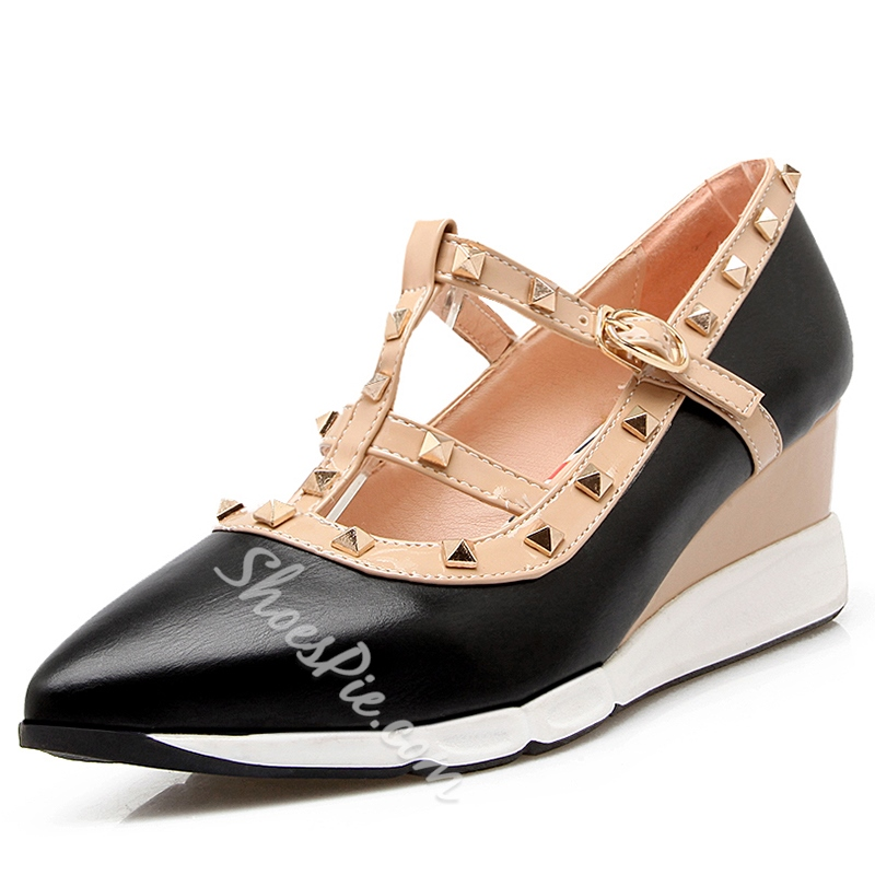 Shoespie Athleisure Rivets Straps Mid Wedge Sneakers