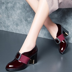 Shoespie Vintage Leather Elegant Block Heel Pumps