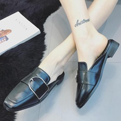 Shoespie Chic Buckle Backless Loafers