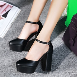 Shoespie Chic Date Out Ankle Wrap Chunky Platform Heels