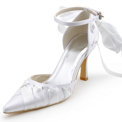 Shoespie Sweet White Ribbon Bow Bridal Shoes