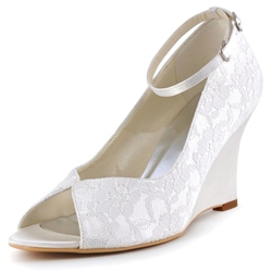 Shoespie Classy Lace Inset Ankle Wrap Wedge Bridal Shoes
