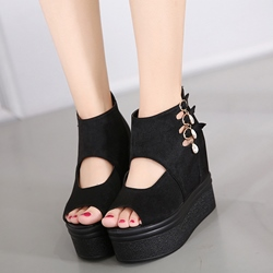 Shoespie Black Cutout Platform Wedge Sandals