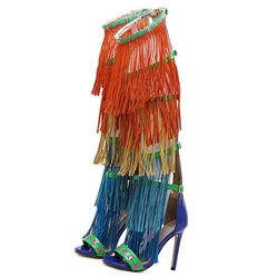Shoespie Colorful Fringes Dress Sandals