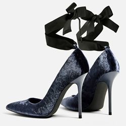 Shoespie Dark Blue Velvet Strappy Looks Stiletto Heels