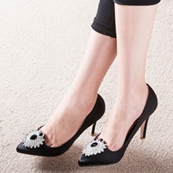 Shoespie Classy Sun Eye Rhinestone Appliqued Stiletto Heels