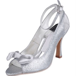 Shoespie Classy Sliver Sequine Ankle Wrap Bridal Shoes