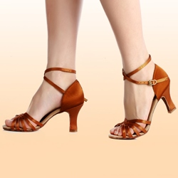 Brown Ankle Strap Buckle Dress Sandals