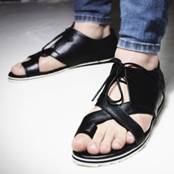 Shoespie Black Lace Up Clip Toe Men's Sandals