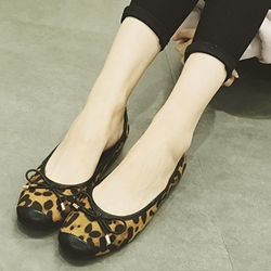 Shoespie Trendy Cute Leopard Print Knot Loafers