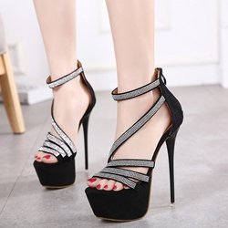 Shoespie Sequined Strappy Platform Heel Sandals