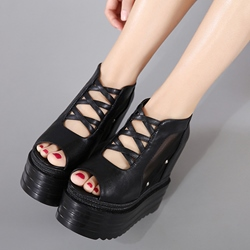 Shoespie Cutout Platform Wedge Sandals