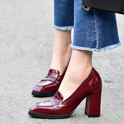 Shoespie Vintage Rectangular Toe Chunky Heel Pumps