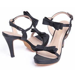 Bow Line-Style Buckle Stiletto Heel Sandals