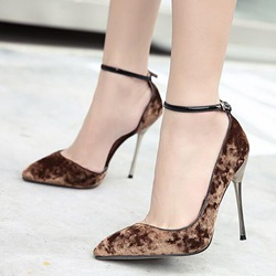 Shoespie Chic Velvet Ankle Wrap Stiletto Heels